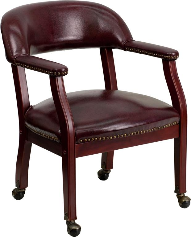 Oxblood Vinyl Luxurious Conference Chair with Casters - B-Z100-OXBLOOD-GG