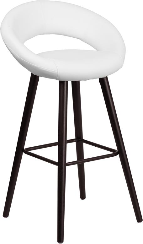Kelsey Series 29 High Contemporary Cappuccino Wood Barstool in White Vinyl - CH-152550-WH-VY-GG