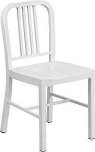 Flash Furniture Metal Indoor/Outdoor Chair (2 Pack), White