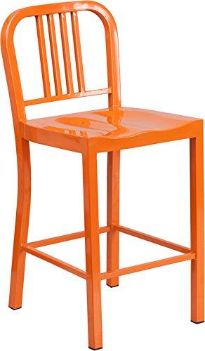 24 High Orange Metal Indoor-Outdoor Counter Height Stool
