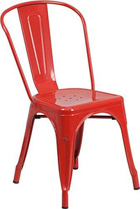 Red Metal Indoor-Outdoor Stackable Chair