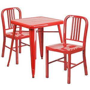 Red Metal Indoor-Outdoor Table Set with 2 Vertical Slat Back Chairs