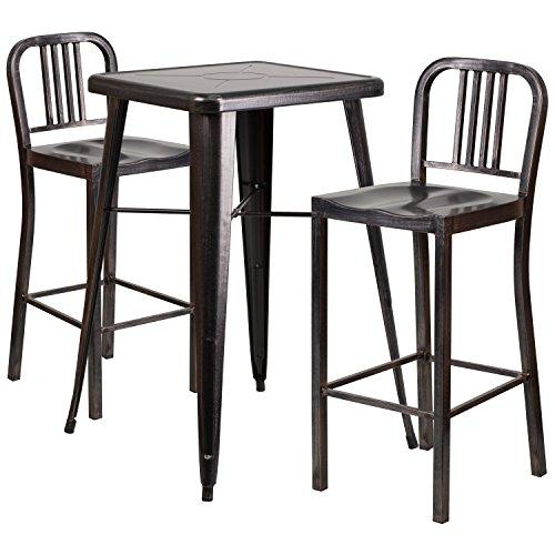 Black-Antique Gold Metal Indoor-Outdoor Bar Table Set with 2 Vertical Slat Back Barstools