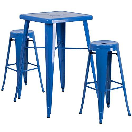 Blue Metal Indoor-Outdoor Bar Table Set with 2 Backless Barstools