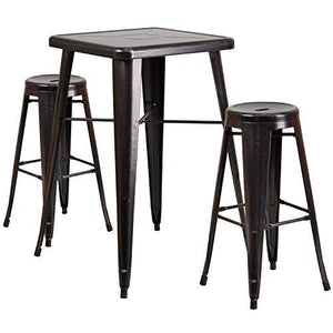Black-Antique Gold Metal Indoor-Outdoor Bar Table Set with 2 Backless Barstools