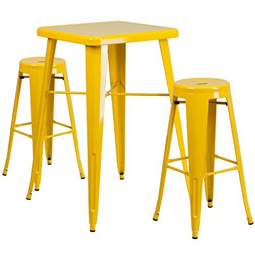 Yellow Metal Indoor-Outdoor Bar Table Set with 2 Backless Barstools