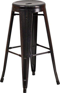 30 High Backless Black-Antique Gold Metal Indoor-Outdoor Barstool with Round Seat