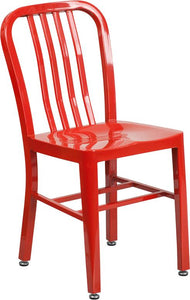 Red Metal Indoor-Outdoor Chair - CH-61200-18-RED-GG