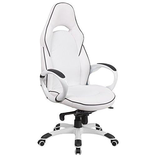 High Back White Vinyl Executive Swivel Chair with Black Trim and Arms - CH-CX0496H01-GG