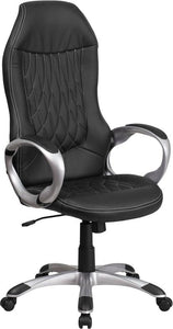 High Back Black Vinyl Executive Swivel Chair with Arms - CH-CX0906H-BK-GG