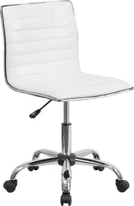Low Back Designer Armless White Ribbed Swivel Task Chair - DS-512B-WH-GG