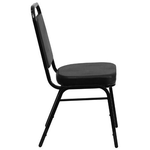 HERCULES Series Trapezoidal Back Stacking Banquet Chair in Black Vinyl - Black Frame