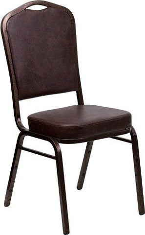 HERCULES Series Crown Back Stacking Banquet Chair in Brown Vinyl - Copper Vein Frame - FD-C01-COPPER-BRN-VY-GG
