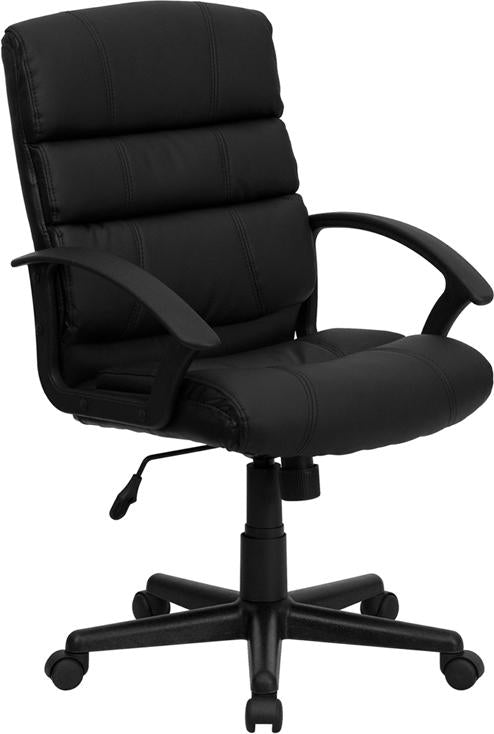 Mid-Back Black Leather Swivel Task Chair with Arms - GO-1004-BK-LEA-GG