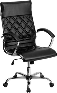 High Back Designer Black Leather Executive Swivel Chair with Chrome Base and Arms - GO-1297H-HIGH-BK-GG