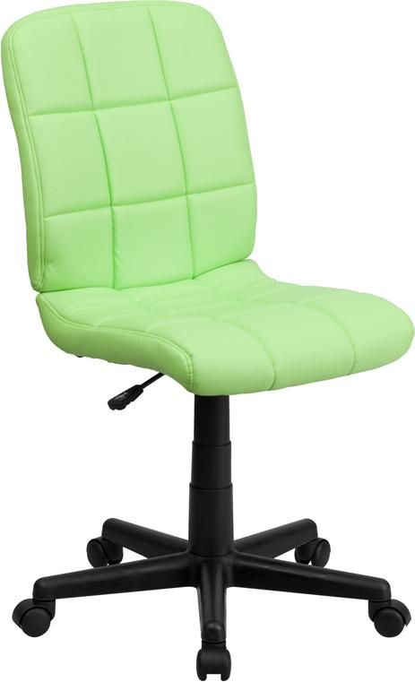Mid-Back Green Quilted Vinyl Swivel Task Chair - GO-1691-1-GREEN-GG