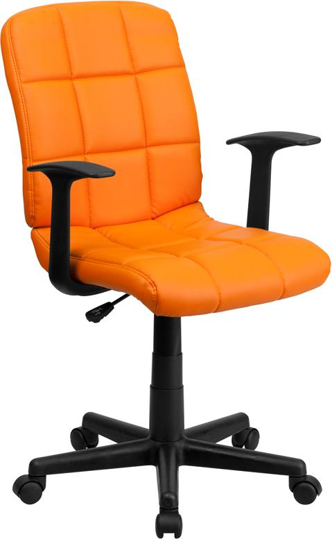 Mid-Back Orange Quilted Vinyl Swivel Task Chair with Arms - GO-1691-1-ORG-A-GG