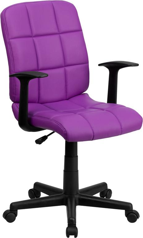 Mid-Back Purple Quilted Vinyl Swivel Task Chair with Arms - GO-1691-1-PUR-A-GG