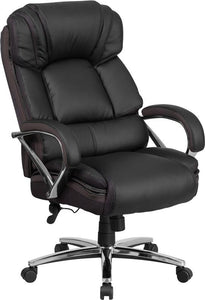 HERCULES Series Big & Tall 500 lb. Rated Black Leather Executive Swivel Chair with Chrome Base and Arms - GO-2222-GG
