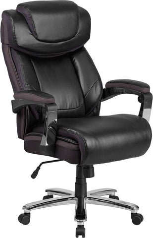 HERCULES Series Big & Tall 500 lb. Rated Black Leather Executive Swivel Chair with Height Adjustable Headrest - GO-2223-BK-GG