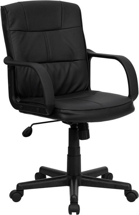 Mid-Back Black Leather Swivel Task Chair with Arms - GO-228S-BK-LEA-GG