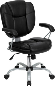 Mid-Back Black Leather Swivel Task Chair with Arms - GO-930-BK-GG