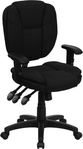 Mid-Back Black Fabric Multifunction Ergonomic Swivel Task Chair with Adjustable Arms - GO-930F-BK-ARMS-GG
