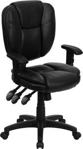 Mid-Back Black Leather Multifunction Ergonomic Swivel Task Chair with Adjustable Arms - GO-930F-BK-LEA-ARMS-GG