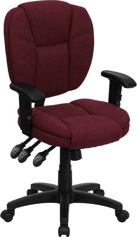 Mid-Back Burgundy Fabric Multifunction Ergonomic Swivel Task Chair with Adjustable Arms - GO-930F-BY-ARMS-GG