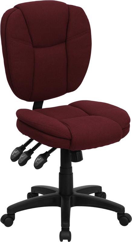 Mid-Back Burgundy Fabric Multifunction Ergonomic Swivel Task Chair - GO-930F-BY-GG