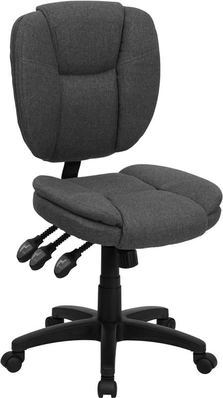 Mid-Back Gray Fabric Multifunction Ergonomic Swivel Task Chair - GO-930F-GY-GG