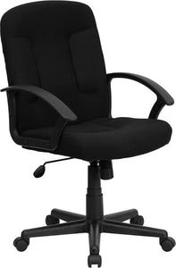 Mid-Back Black Fabric Executive Swivel Chair with Nylon Arms - GO-ST-6-BK-GG