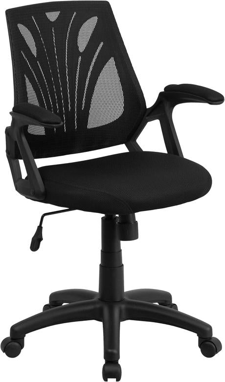 Mid-Back Black Mesh Swivel Task Chair with Arms - GO-WY-82-GG