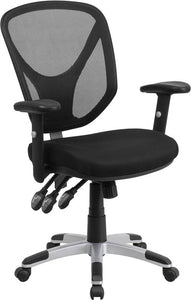Mid-Back Black Mesh Multifunction Swivel Task Chair with Adjustable Arms - GO-WY-89-GG