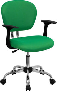 Mid-Back Bright Green Mesh Swivel Task Chair with Chrome Base and Arms - H-2376-F-BRGRN-ARMS-GG