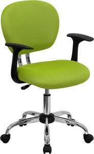 Mid-Back Apple Green Mesh Swivel Task Chair with Chrome Base and Arms - H-2376-F-GN-ARMS-GG