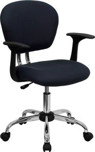 Mid-Back Gray Mesh Swivel Task Chair with Chrome Base and Arms - H-2376-F-GY-ARMS-GG