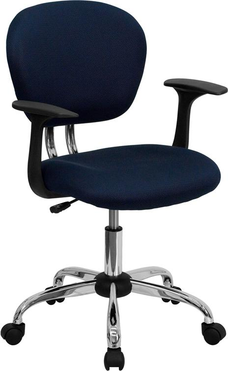 Mid-Back Navy Mesh Swivel Task Chair with Chrome Base and Arms - H-2376-F-NAVY-ARMS-GG