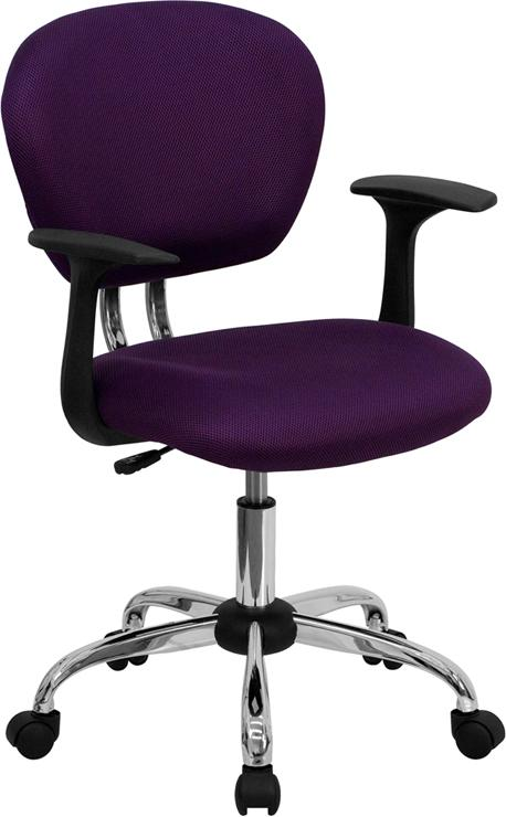 Mid-Back Purple Mesh Swivel Task Chair with Chrome Base and Arms - H-2376-F-PUR-ARMS-GG