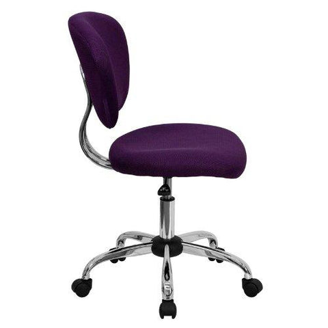 Mid-Back Purple Mesh Swivel Task Chair with Chrome Base
