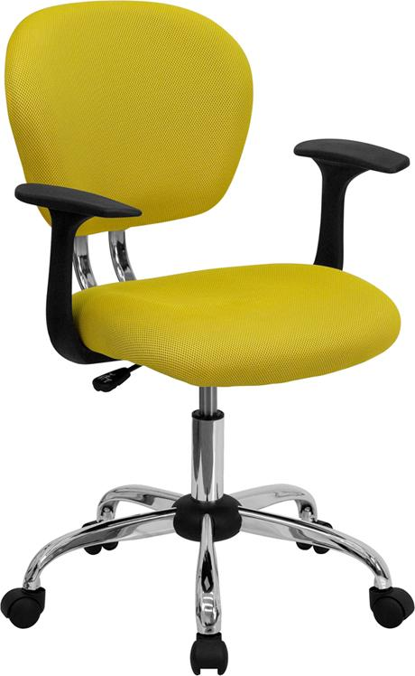 Mid-Back Yellow Mesh Swivel Task Chair with Chrome Base and Arms - H-2376-F-YEL-ARMS-GG