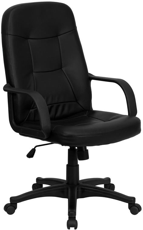 High Back Black Glove Vinyl Executive Swivel Chair with Arms - H8021-GG