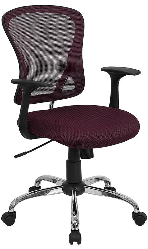 Mid-Back Burgundy Mesh Swivel Task Chair with Chrome Base and Arms - H-8369F-ALL-BY-GG
