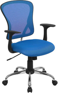 Mid-Back Blue Mesh Swivel Task Chair with Chrome Base and Arms - H-8369F-BL-GG