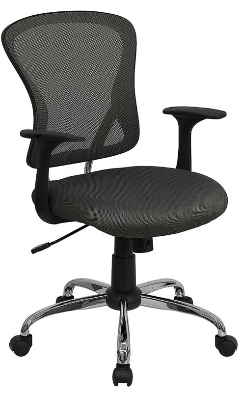 Mid-Back Dark Gray Mesh Swivel Task Chair with Chrome Base and Arms - H-8369F-DK-GY-GG