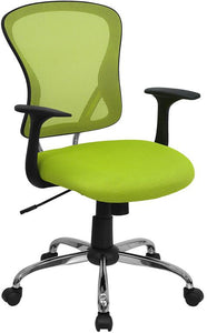 Mid-Back Green Mesh Swivel Task Chair with Chrome Base and Arms - H-8369F-GN-GG