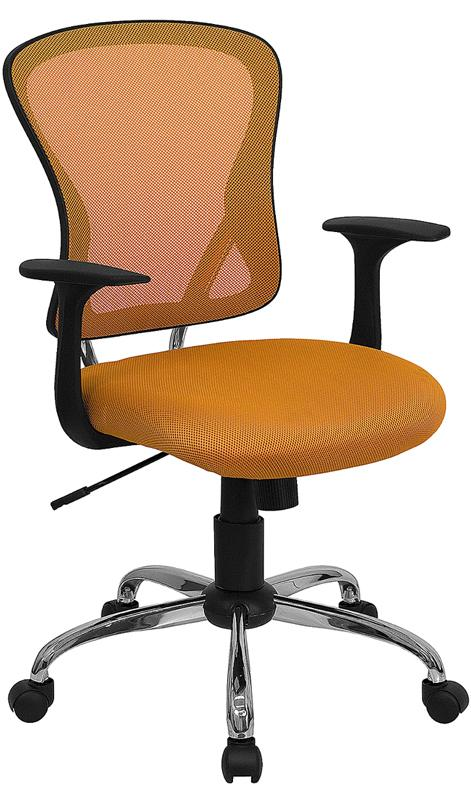 Mid-Back Orange Mesh Swivel Task Chair with Chrome Base and Arms - H-8369F-ORG-GG