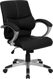 Mid-Back Black Leather Contemporary Swivel Manager's Chair with Arms - H-9637L-2-MID-GG