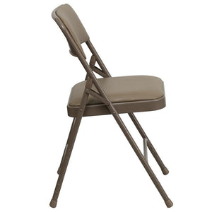 HERCULES Series Curved Triple Braced & Double Hinged Beige Vinyl Fabric Metal Folding Chair - HA-MC309AV-BGE-GG