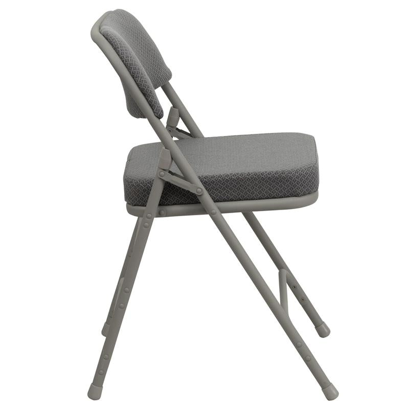 HERCULES Series Premium Curved Triple Braced & Double Hinged Gray Fabric Metal Folding Chair - HA-MC320AF-GRY-GG